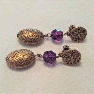 Jewelry - Solid Brass and Purple Crystal Dangle Earrings